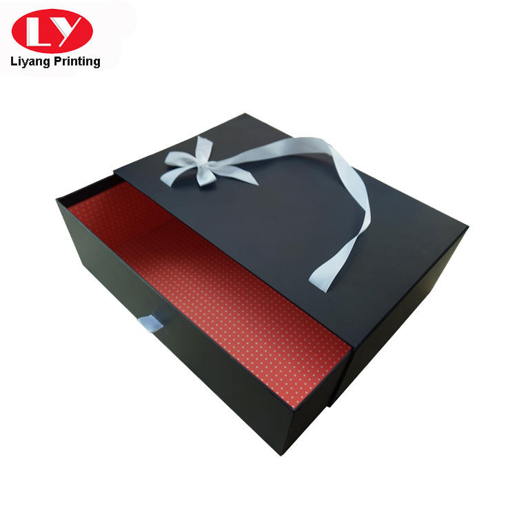 Large Size Drawer Cardboard Gift Box with Ribbon Handle-2