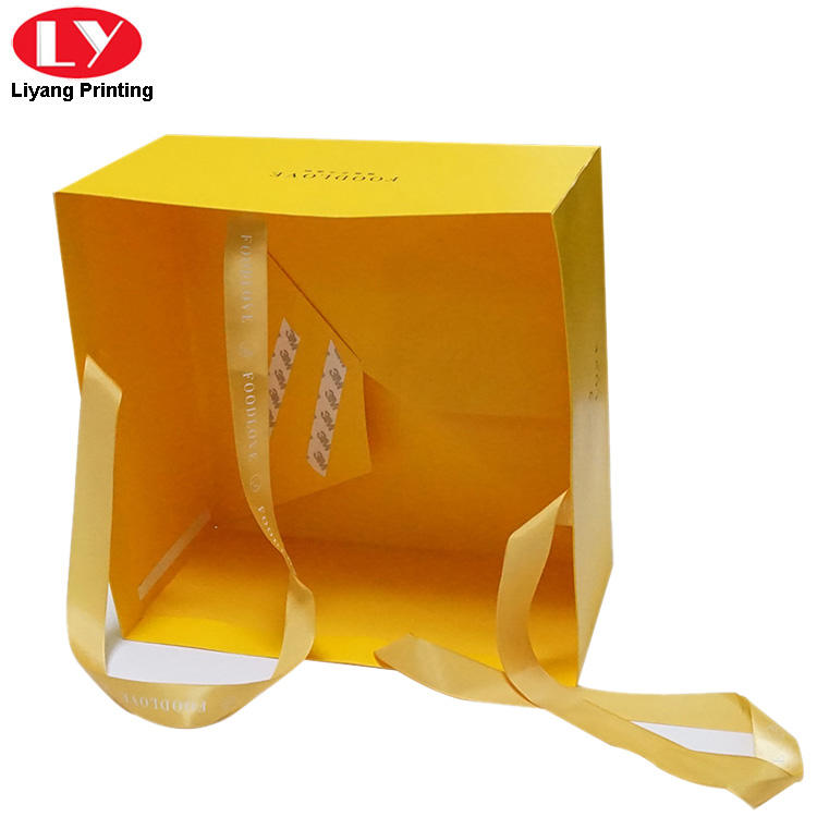 Custom cake paper bag with ribbon handle-2