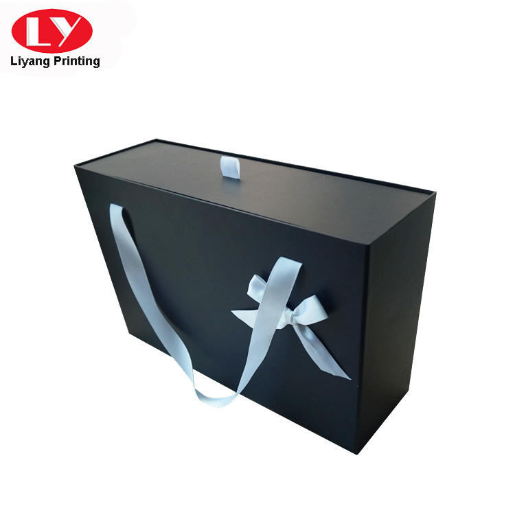 Large Size Drawer Cardboard Gift Box with Ribbon Handle-3