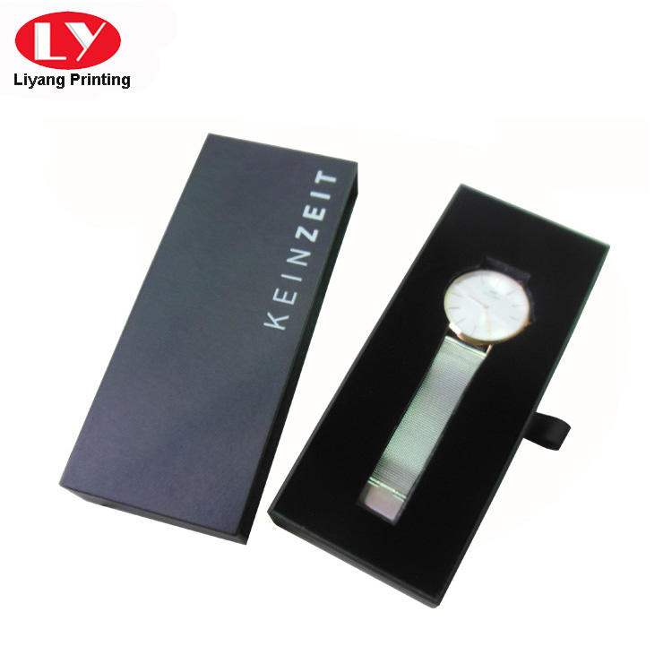 Cardboard Drawer Slide Leather Watch Box Packaging