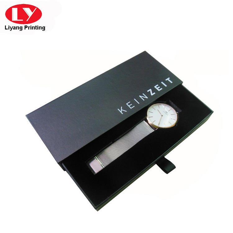 Cardboard Drawer Slide Leather Watch Box Packaging