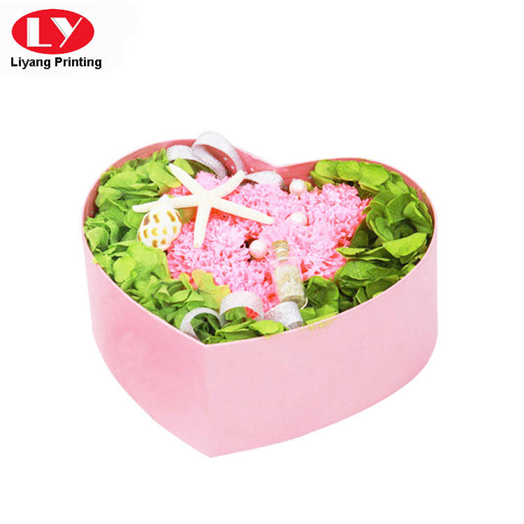 Custom Made Heart Shape Gift Box Pink for Flower Display