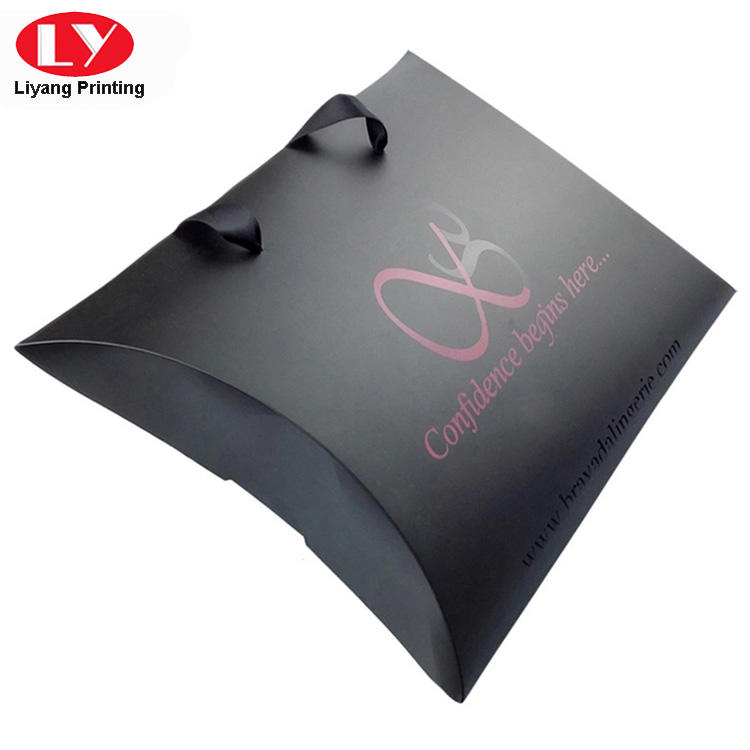 Large black hair extension packaging pillow box with ribbon handle