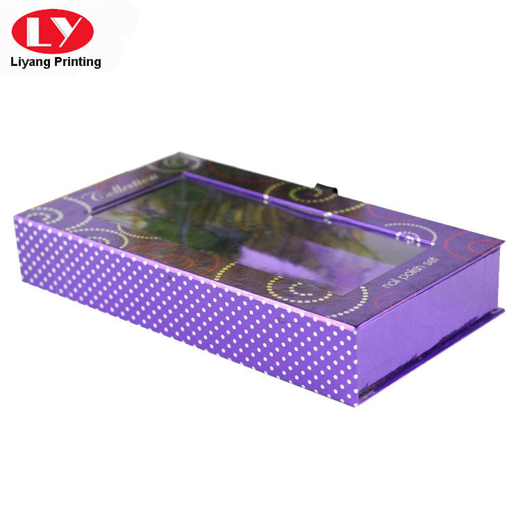 Purple Magnetic Box Nail Polish Packaging with Clear Window