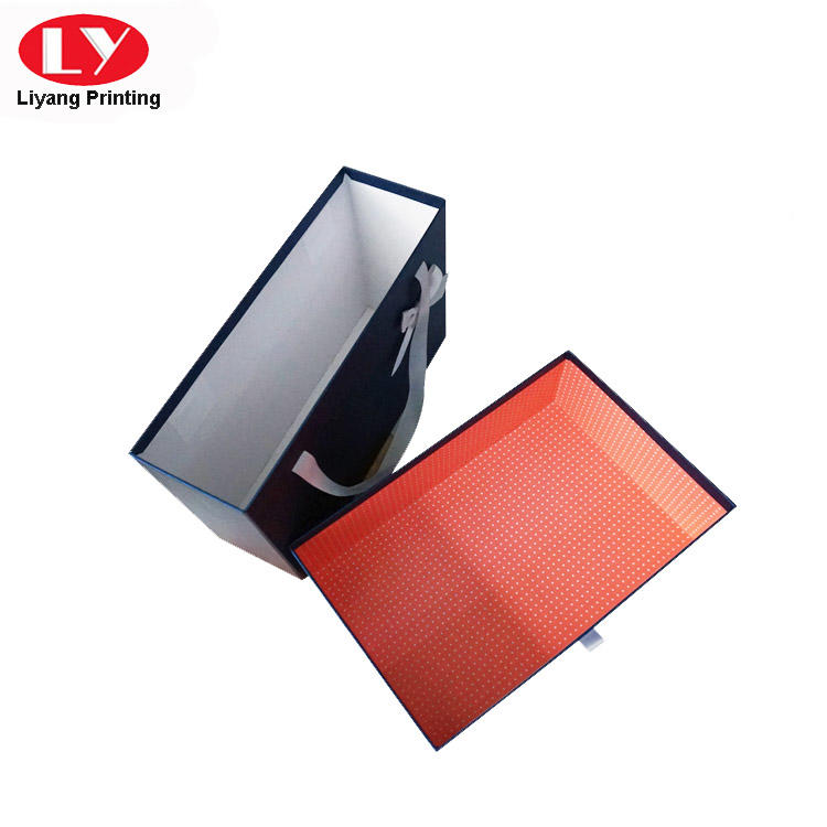 Large Size Drawer Cardboard Gift Box with Ribbon Handle