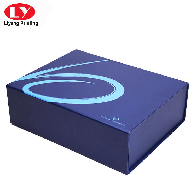 Navy blue flat folding gift boxes with double tapes