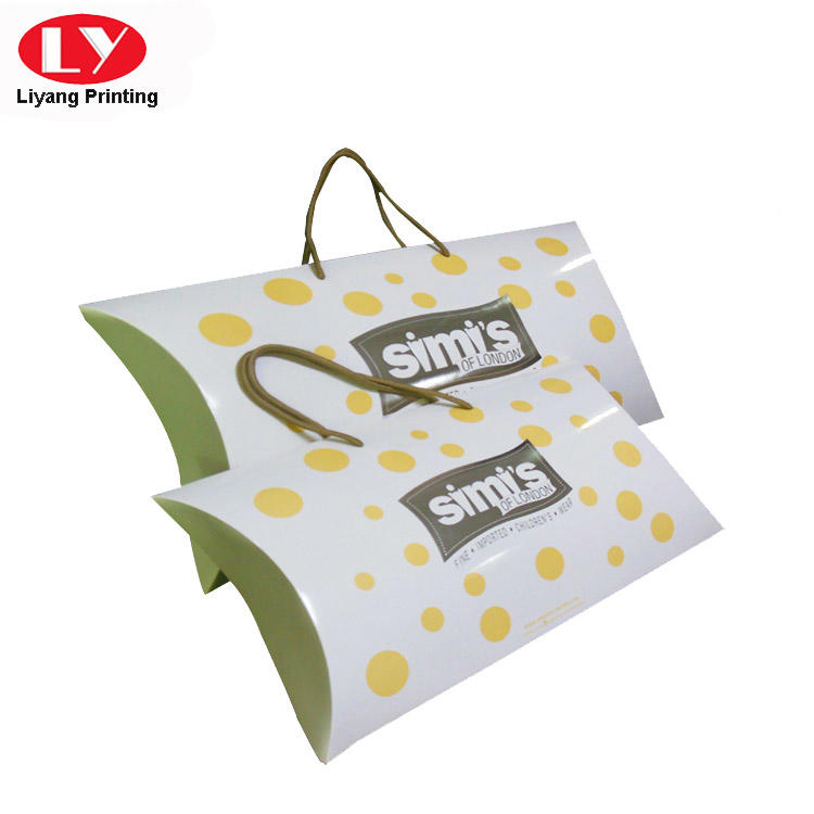 Baby Clothing Packaging Paper Pillow Gift Box with Handle
