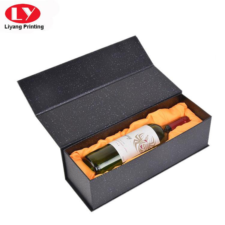 Single Bottle Luxury Wine Cardboard Box with Satin Foam Insert