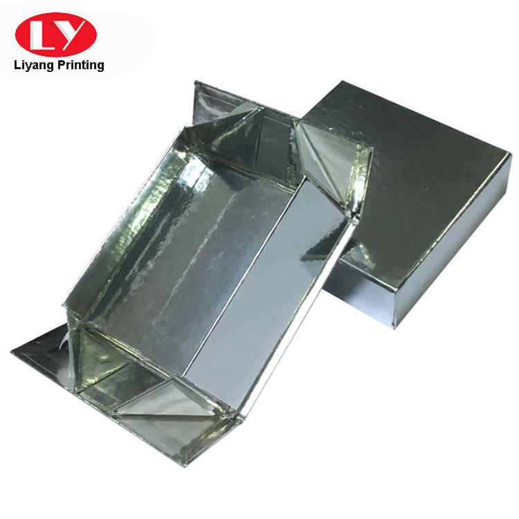 Newly design square silver foldable gift box with foldable base