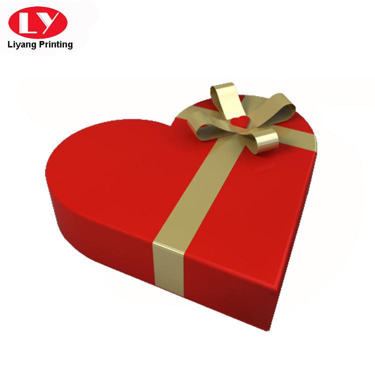 Custom Made Heart Shaped Chocolate Box with Ribbon Bow