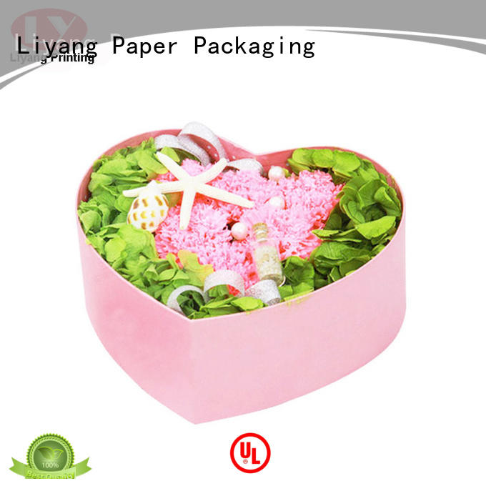 handle flower gift box round shape for rose Liyang Paper Packaging