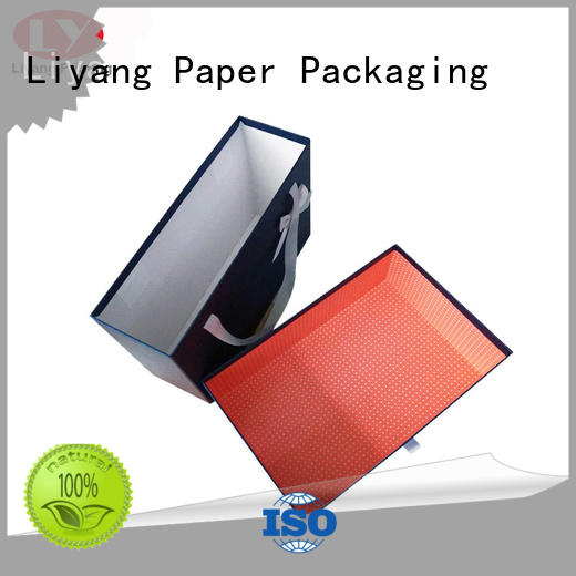 clothing paper box handle ribbon blue clothing gift boxes manufacture