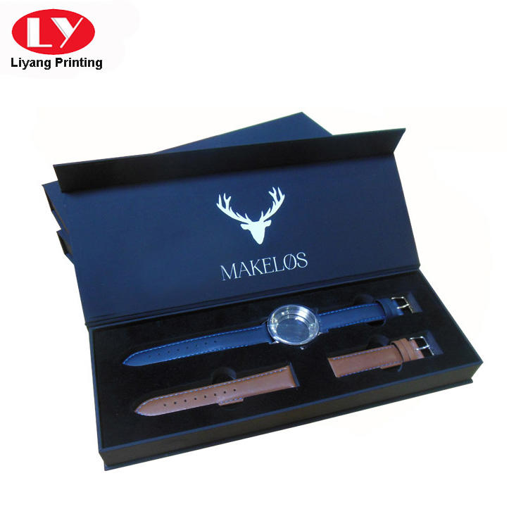 Black Soft Touch Paper Luxury Watch Packaging Gift Box-1