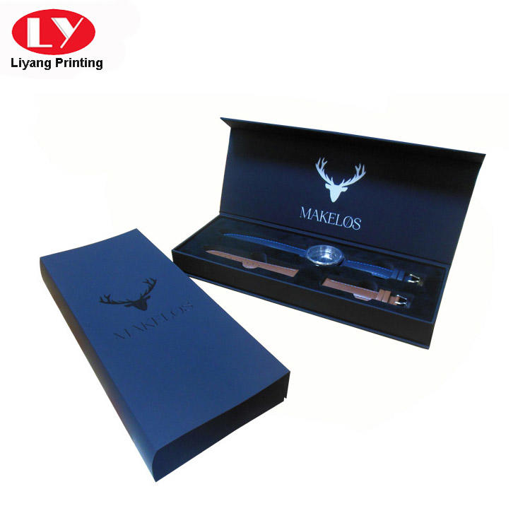 Black Soft Touch Paper Luxury Watch Packaging Gift Box-2