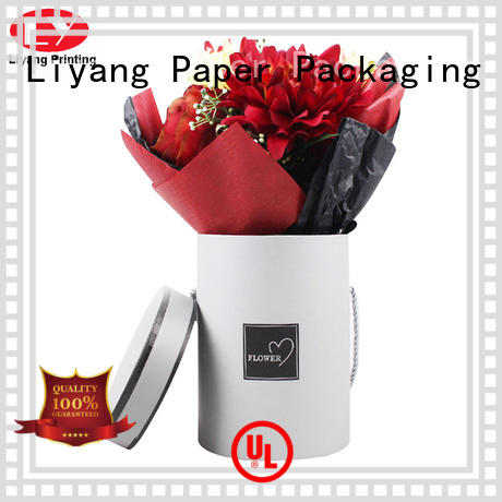 Customized Cardboard Round Flower Packaging Box with twist handle