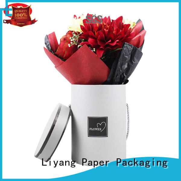 Liyang Paper Packaging printed paper flower box pink for gift packing