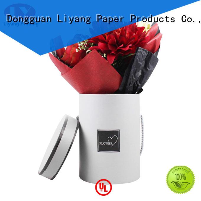 pink cardboard flower boxes handle Liyang Paper Packaging company