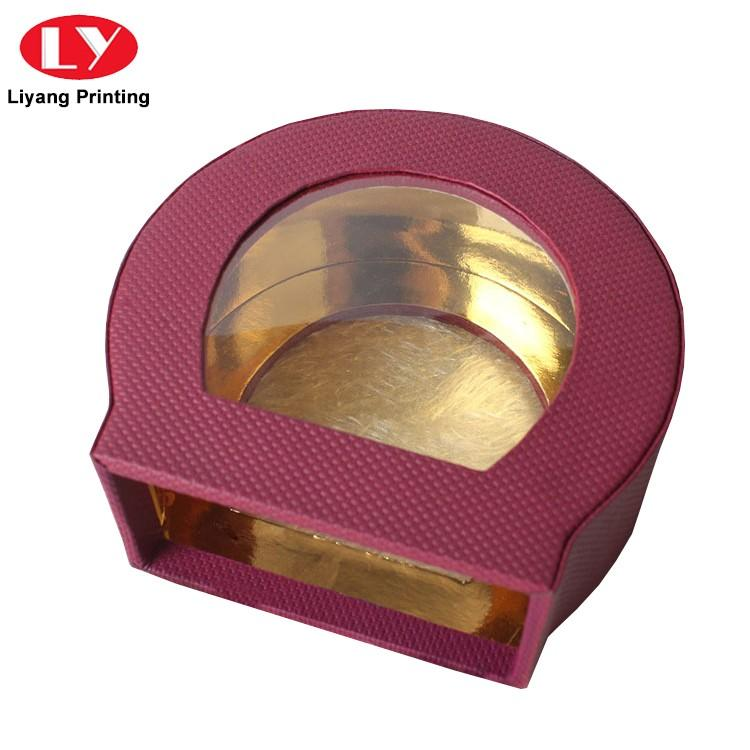 purple cosmetic paper box handle bulk production for brush-2
