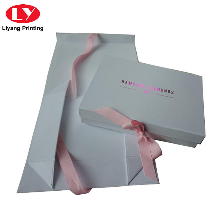 Custom Collapsible Rigid White Cardboard Flat Folding Paper Gift Box