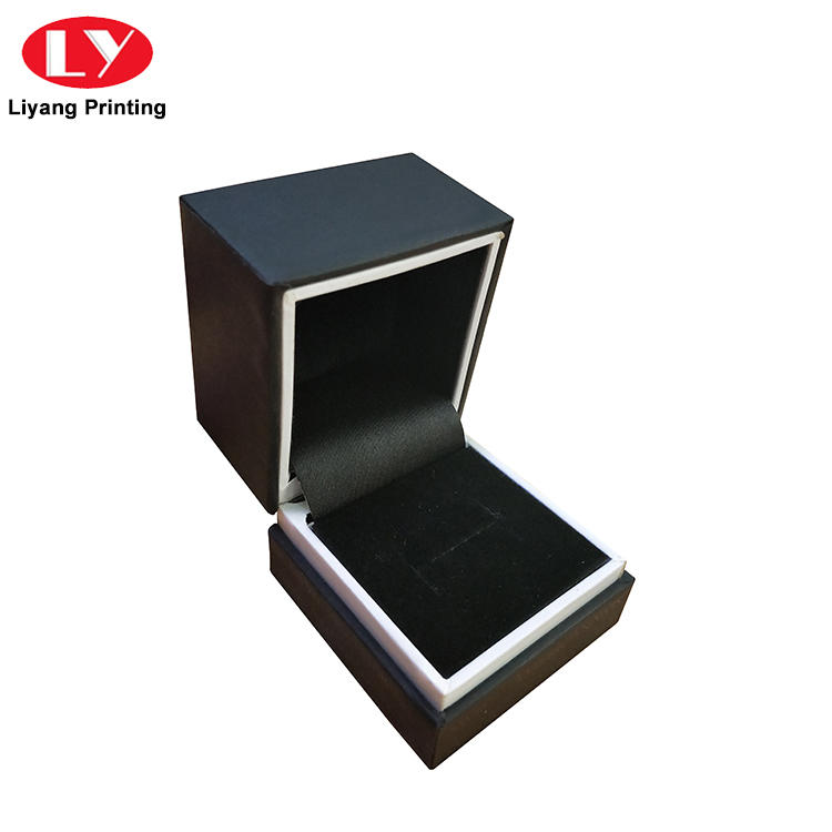 Luxury Hinge Black Jewelry Ring Packaging Box with Foam