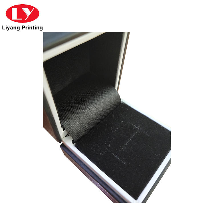 Luxury Hinge Black Jewelry Ring Packaging Box with Foam