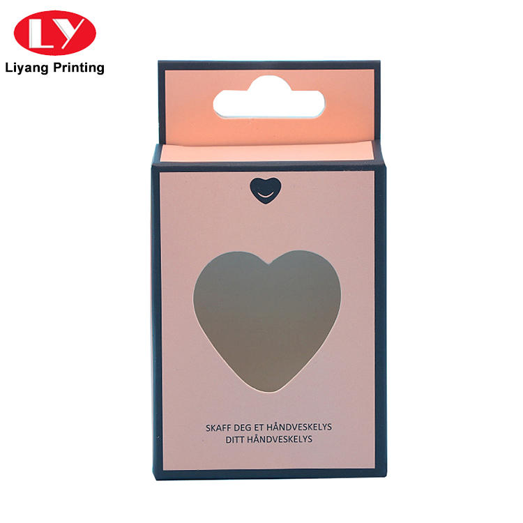 Custom Ivory Board Color Printed Paper Cosmetic Packaging Box with Hanger Tab