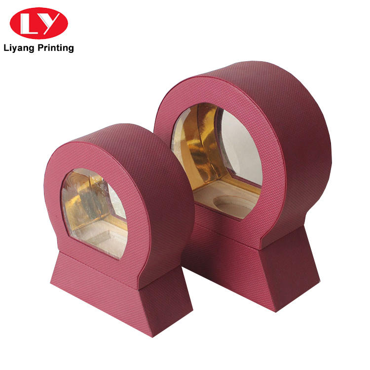 purple cosmetic paper box handle bulk production for brush
