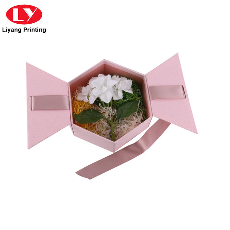 square flower box pink for florist Liyang Paper Packaging