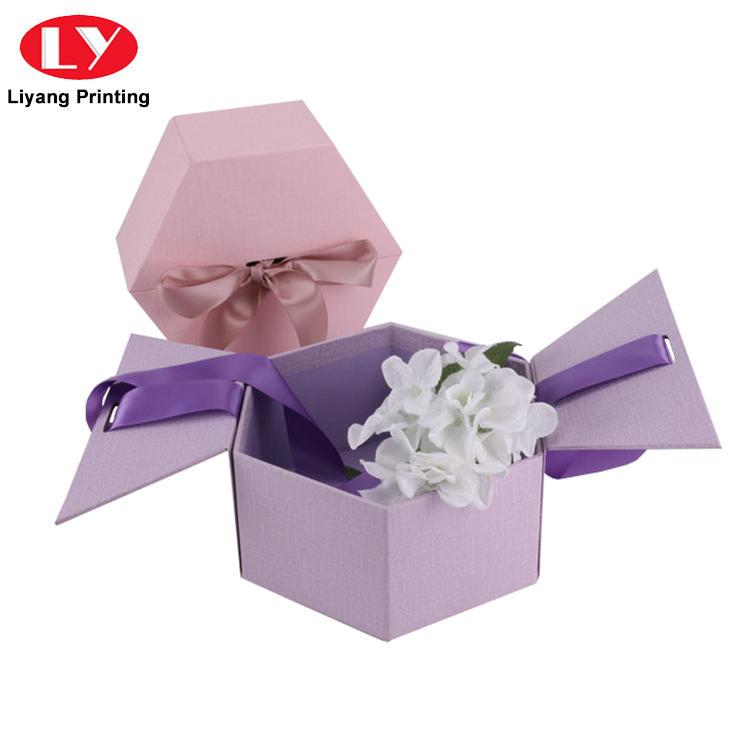 Hexagonal Shape Custom Rigid Flower Packaging Box with Ribbon Closure