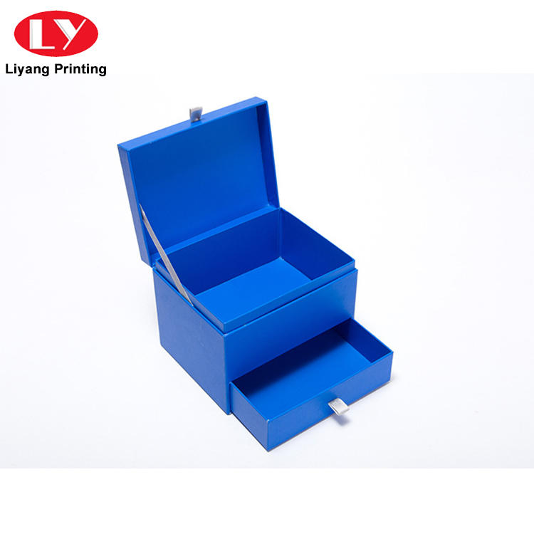 Luxury high quality paper cardboard gift storage box with drawer