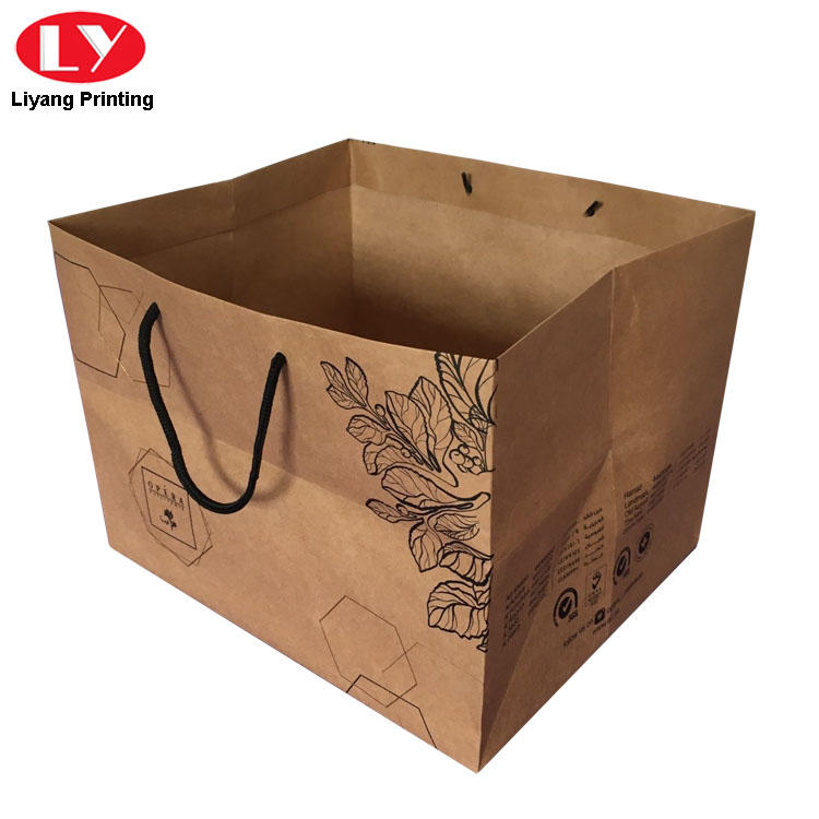 Recycled Brown Kraft Paper Bag Box with Handle