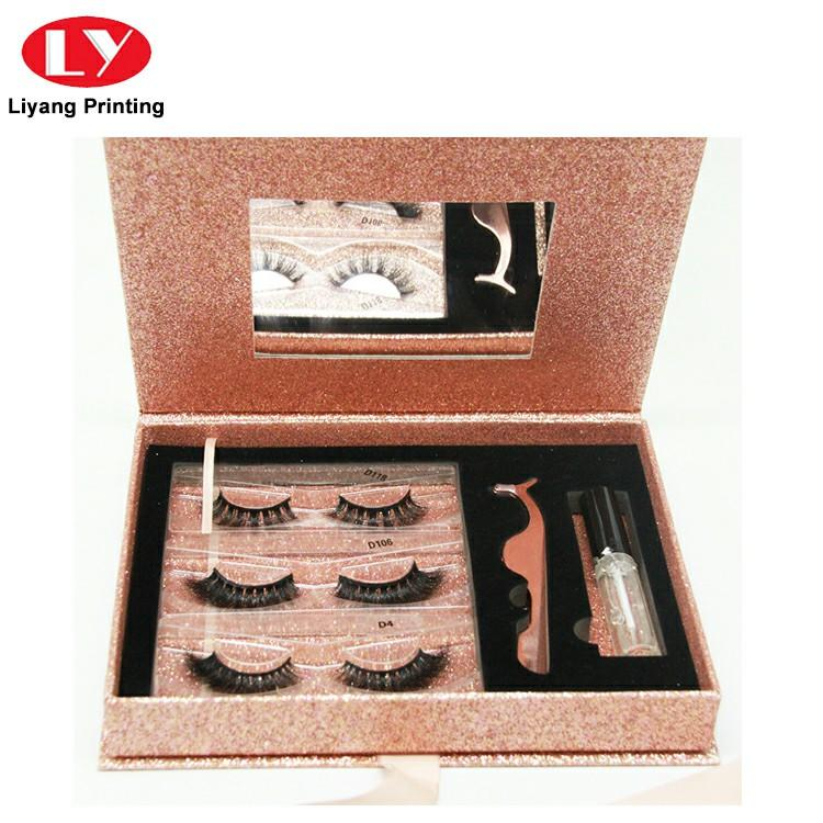 2019 New Custom Glitter Paper Cosmetic False Eyelash Packaging Box