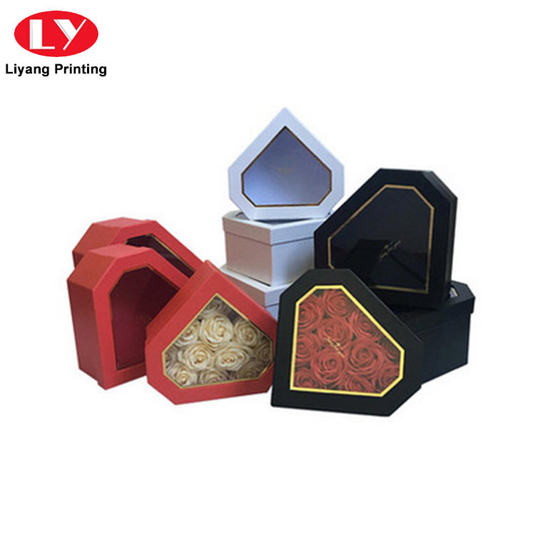 Luxury Logo Printing Heart Shape Flower Gift Box with Window