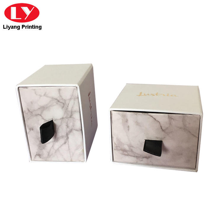 Paper Packaging Drawer Jewelry Box Marble Print Box
