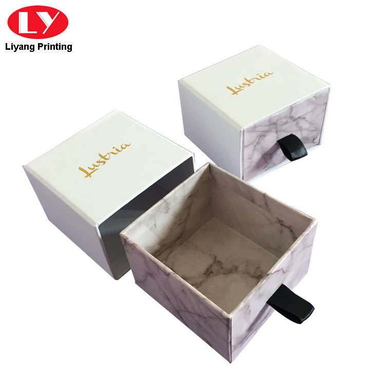 Paper Packaging Drawer Jewelry Box Marble Print Box-5