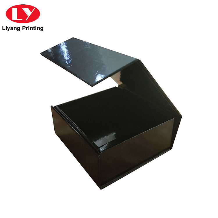 Custom Black Folding Magnetic Closure Collapsible Rigid Boxes Flat Pack Gift Boxes-4