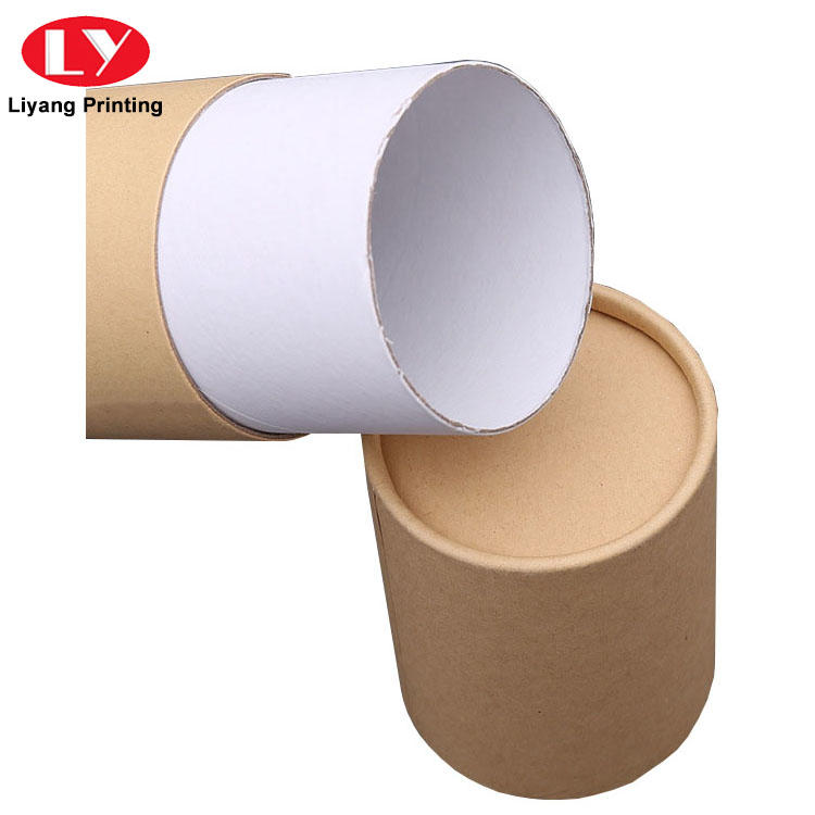 Eco- friendly recycled brown kraft paper packaging box cylinder gift paper tube