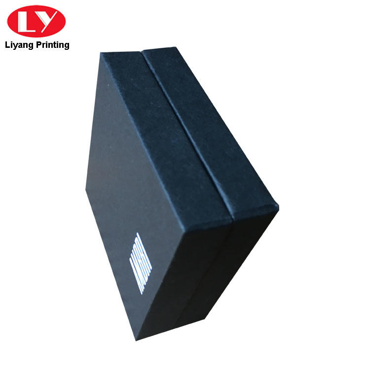 Small Black Box Packaging with Custom White Logo Hot Stamping