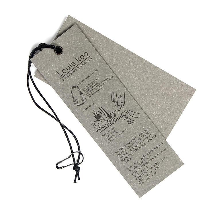 Custom printed oval shoe hang tag with ribbon