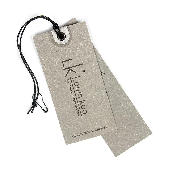 Custom printed oval shoe hang tag with ribbon