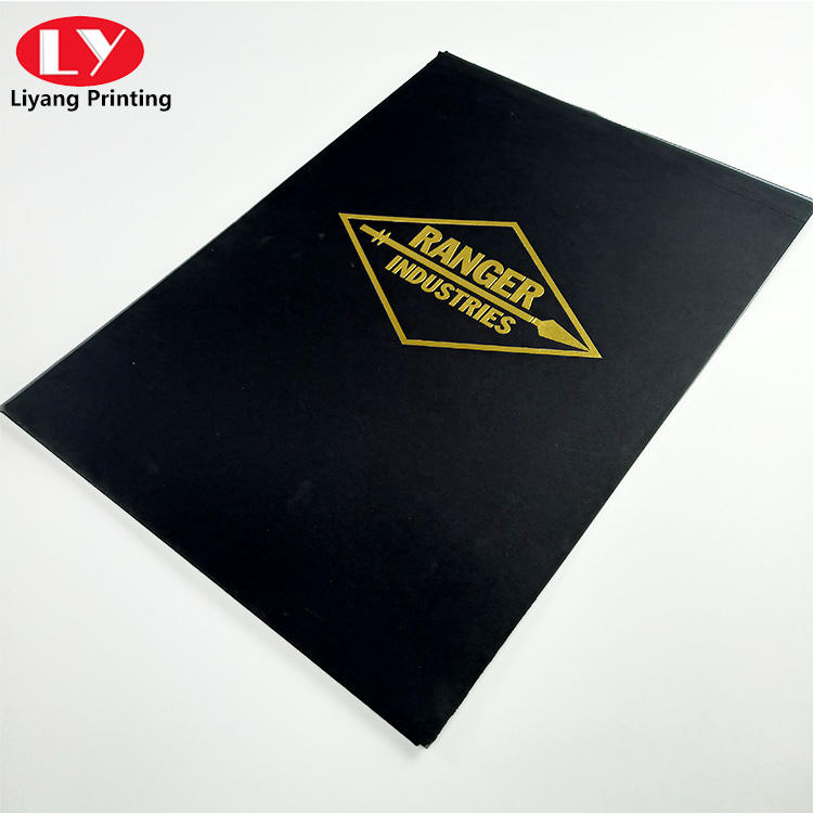 Custom office A4 file folder printing gold foil logo