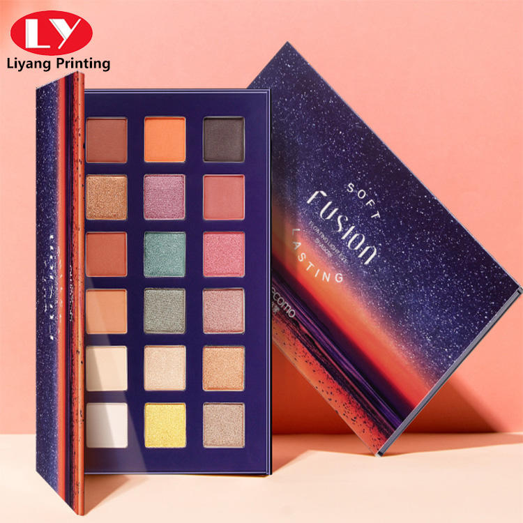 hot sell cosmetic box rectangle colorful for girls eyeshadow palette make up box