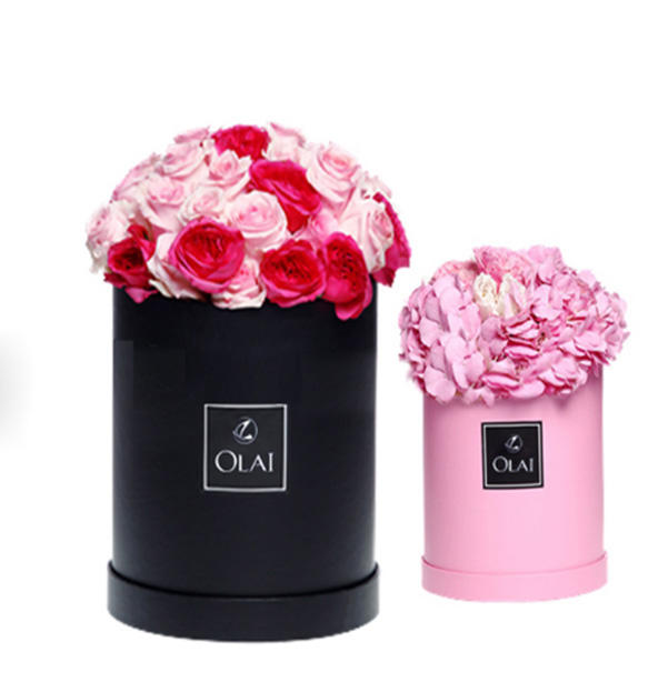 Luxury gift flower boxes with ribbon round boxes