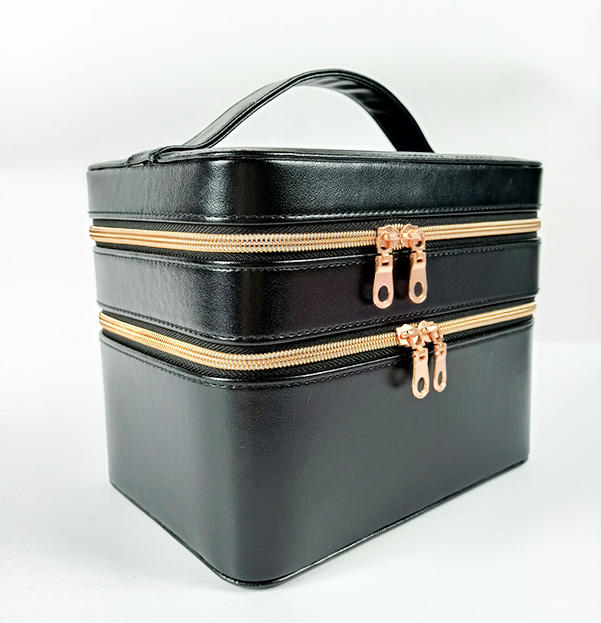 Hot Sale Cosmetic Makeup Eye Shadow Palette Packaging Boxes with Leather custom black for Make Up Set Box