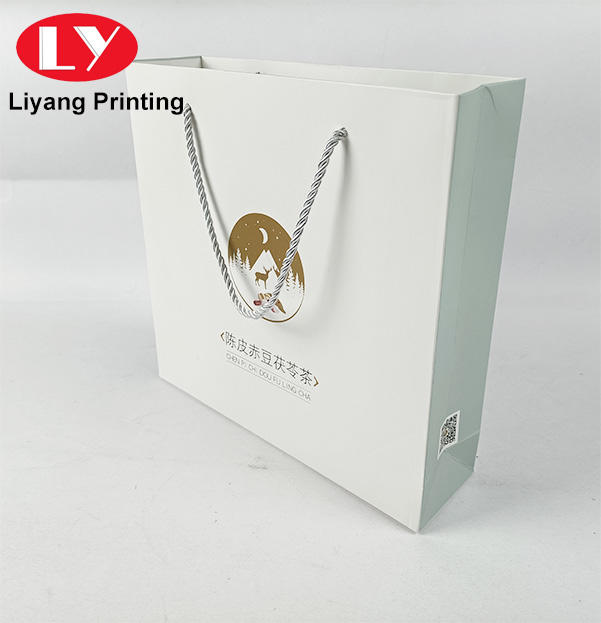 Wholesale Luxury Custom Printing Marble White Shopping Packaging Small Paper Gift Bag