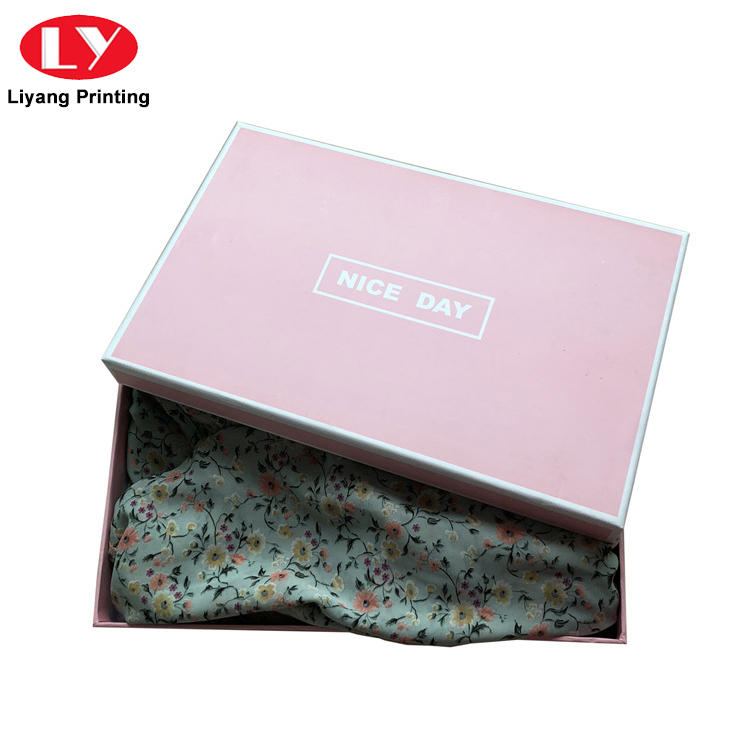custom logo rectangle luxury rigid paper scarf packaging gift box with lid-2
