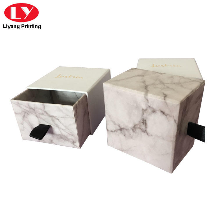 Paper Packaging Drawer Jewelry Box Marble Print Box-3