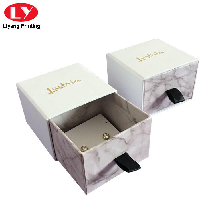 Paper Packaging Drawer Jewelry Box Marble Print Box-2