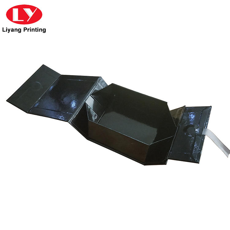 Custom Black Folding Magnetic Closure Collapsible Rigid Boxes Flat Pack Gift Boxes-3