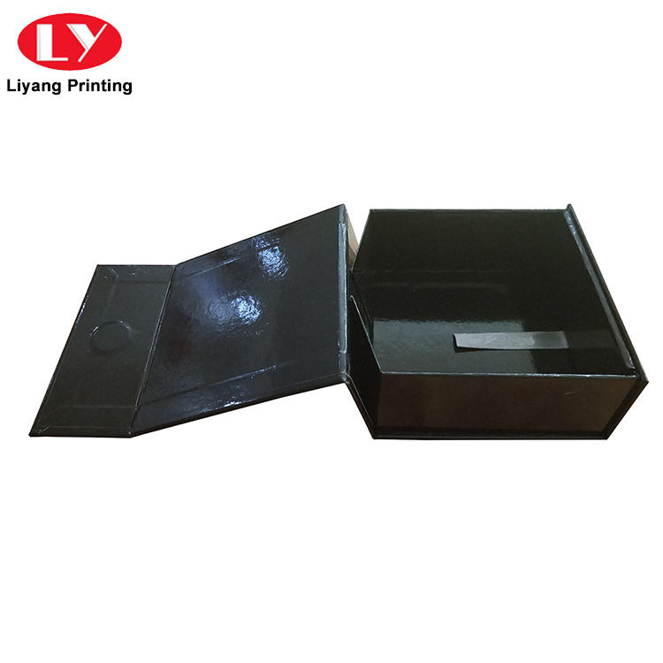 Custom Black Folding Magnetic Closure Collapsible Rigid Boxes Flat Pack Gift Boxes-2